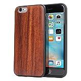 Funda iPhone 6 y 6S, Carcasa Snugg Anti-Impactos para Apple iPhone 6 y 6S [Madera Genuina] Ultrafina Revestimiento de TPU - Granate