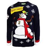 Ho Ho Ho Herren Damen Weihnachts Pullover 3D Xmas Neuheit Weihnachtself Rentier Schneemann - Schneemann Marineblau, M