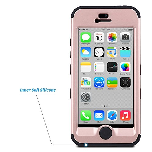 Coque iPhone 5c, ULAK iPhone 5c Case Housse de Protection Anti-choc Matériaux Hybrides en Silicone Souple et PC dur Coque pour Apple iPhone 5c (Or Rose) 3in1-Or Rose + Gris