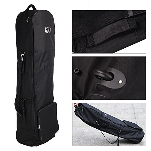 Golf Bag Cover With Wheels Professional Sports Travel Padded Lightweight Carrying Case Carrier Bags Black