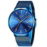 Herren Uhren Männer Mode Sport Wasserdicht Armbanduhr Blue Gold Zifferblatt Quarzwerk Uhr Neutral Mesh Armband Datum