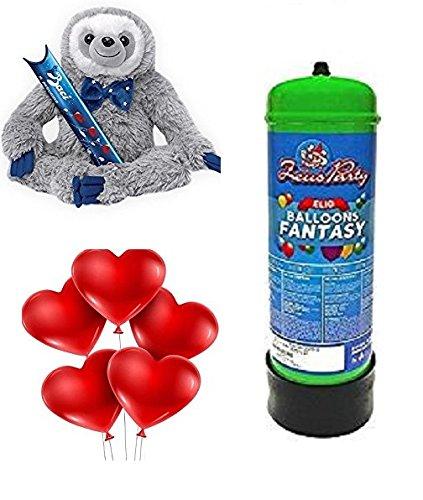 Kit sanvalentino-peluche a forma di bradipo baci perugina con cioccolatini san valentino + 25 palloncini a cuore rosso e bombola di gas elio