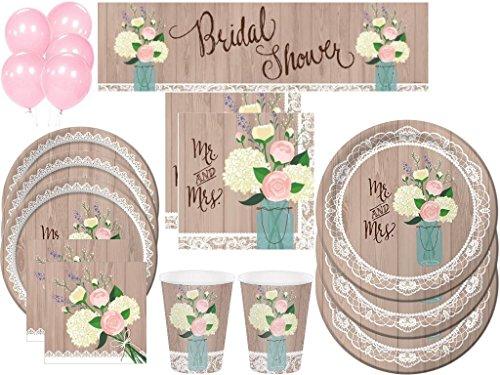 Rustikal Hochzeit Brautschmuck Dusche Deluxe Party Kit inkl. Geschirr und Dekorationen (152PCS) 12 Oz Ballon