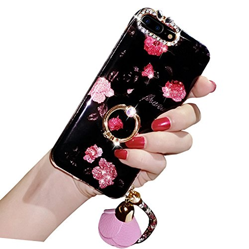 Case iPhone 7 Plus,iPhone 7 Plus Cover,Diamante Bling Glitter Lusso Cristallo Strass Morbida Rubber Full body [Rotazione Grip Ring Kickstand] con Supporto Dellanello Shock-Absorption Bumper e Anti-Sc fiore 01