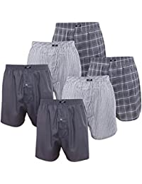 6er Pack MT® Herren Webboxer Shorts - American Boxer - Kariert, gestreift und uni im Pack - Qualität von celodoro