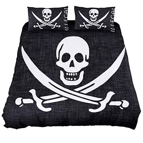 Bennigiry Bettwäsche-Set mit Reißverschluss und Eckbändern für Teenager, Jungen und Mädchen, Polyester, Multi, Extra Long Twin 71 x 83 \ 19 x 29 in - Piraten Twin Bettwäsche
