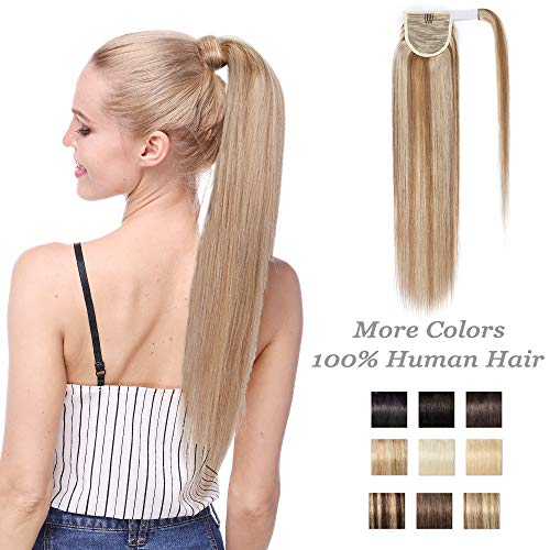 Extension coda capelli veri clip ponytail wrap around coda di cavallo - 50cm 95g #12/613 marrone dorato/biondo remy human hair lisci