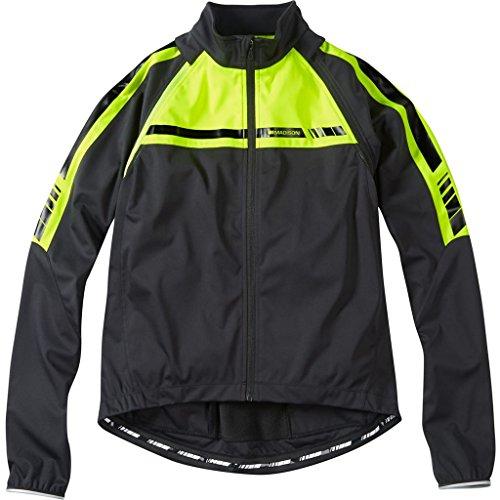 Mens Convertible Jacket (2016 Madison Mens Sportive Convertible Softshell Jacket Black Hi-Vis Yellow Large)