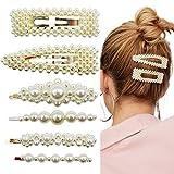 6 Pièces Pinces à Cheveux Perles Barrette Épingles à Cheveux de Mariée en Perles Artificielles Clips Bijoux Accessoires de Cheveux Mariage pour Cadeaux de Femmes Filles