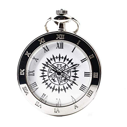 joielavie Taschenuhr einfach römischen Zahl Blumenmuster verziert ohne Deckel Halskette Legierung Silber Taschenuhr Klassische Geschenk Herren Damen # B