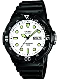 Casio Men's Quartz Watch with White Dial Analogue Display and Black Resin Strap MRW-200H-7EVEF