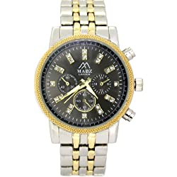 Mabz London Ladies Black Dial & Two Tone Bracelet Watch With Gold Centre Links