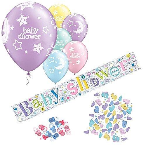 (Baby Taufe Party Dekorationen Set (Luftballons, Fahne Aus Folien, Schnuller & Konfetti))
