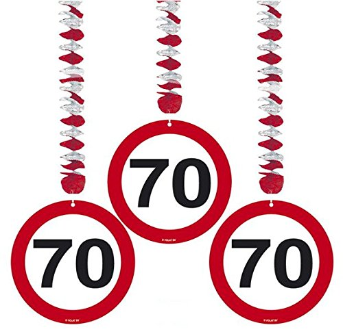 70. Geburtstag Deko Rotorspiralen mit Zahl 70 3er Set Hängende Dekoration zum 70er Geburtstag Party oder andere Anlässe - 2