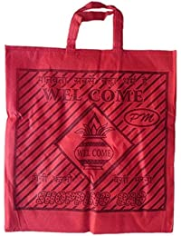 """PM Welcome Non Woven Shopping Bag (SIZE: 15"""" X 15""""-Inches) Red - 24 Pcs."""