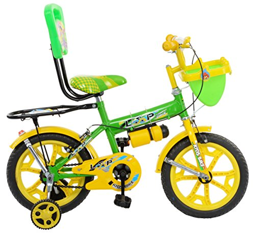 Loop Cycles SKOOLMATE Parrot Green Yellow 14 Inches Bicycle For 3 to 5 Years Kids Unisex With Bottle