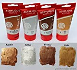 Metallic Acrylfarben Set 4x 75 ml in Kupfer