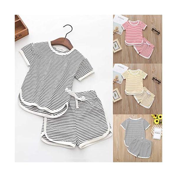 Trisee Verano recién Nacido para Mono de bebé para niñas de Romper Raya algodón Blusa y Pantalones Cortos 2pcs Conjunto… 2