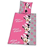 Minnie Mouse - Minnie Maus - Disney - Flanell / Biber - Flanellbettwäsche - Kinderbettwäsche - Bettwäsche - witzige Bettwäsche - Gr. 80 x 80 cm, Bettbezug: 135 x 200 cm / Material: 100 % Baumwolle / waschbar bei 60°C, trocknergeeignet