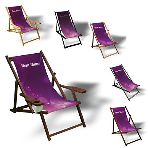 Printalio - Wunschtext - Purple Bubbles - Liegestuhl Bedruckt Balkon Garten Sonnenliege Relax Holz Terrasse | mit Armlehne, Natur