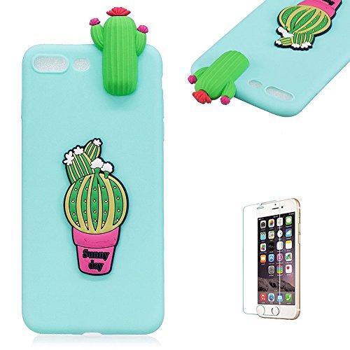 Copertura morbida del silicone TPU Per iPhone 7 Plus/iPhone 8 Plus 5.5 ,Funyye Bello 3D Bambola Ornamento Modello Brillantini Glitter Morbido Sottile Chiaro Leggero Gel Protettiva Case Flessibile Dol verde