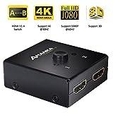 AMANKA HDMI Switch Bidirectionnel 2 ports Splitter HDMI 2 x Entrées à 1 x Sortie ou HDMI Commutateur 1 x Entrées à 2 x Sortie Supporte 3D - Noir