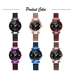 SO-buts Damen Smartwatch,Lässige Analog Uhren, Armband aus Edelstahlgewebe,Mode Sternenhimmel Lady Watch,lvpai / P830