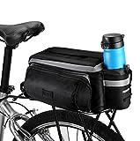 Betuy Fahrrad Satteltaschen mit Flaschenhalter, 7L Wasserdichte Rücksitztasche mit Reflexstreifen, Mountain Road MTB Fahrradrahmen Tasche/Fahrradtaschen / Fahrradzubehör Umhängetasche (Schwarz)