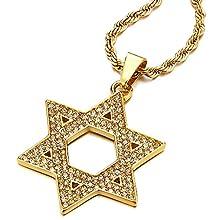 COOLSTEELANDBEYOND Große Goldfarben Davidstern Anhänger mit Zirkonia, Edelstahl Halskette für Damen für Herren