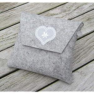 zigbaxx Dirndl-Bag Wiesn-Herz/Trachtentasche, Gürteltasche, Bauchtasche, Dirndl-Tasche aus Woll-Filz mit Stickapplikation Herz, grau melange - Geschenk Weihnachten Geburtstag