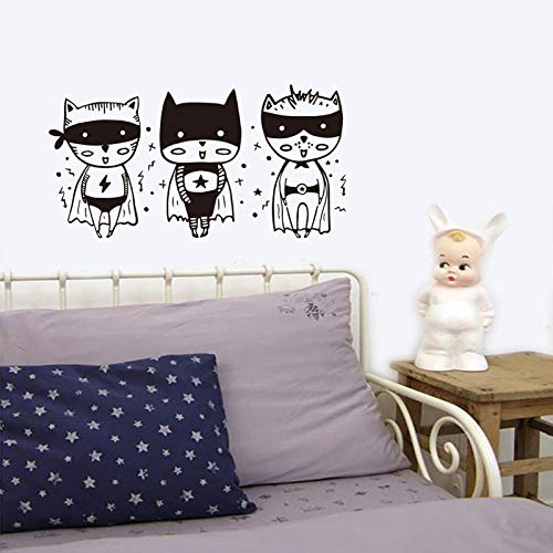 AFTUZC Wandaufkleber,Schwarze Und Weiße Superman Kostüm Cartoon Kinder Kreative Mode Wand Aufkleber Kinderzimmer Kindergarten Home Deko Wandbild Applique (Superman Weißen Kostüm)