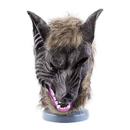 ZengBuks Erwachsene und Kinder Latex Tier Wolf Kopf mit Haarmaske Kostüm Party Scary Halloween mit Grauer Farbe - (Film-halloween-kostüme Tv-oder Einfach)