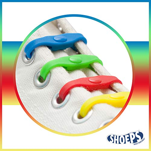 Shoeps Elastic Schnürsenkel, 14 teilig, Mehrfarbig regenbogenfarben Kinder-elastic
