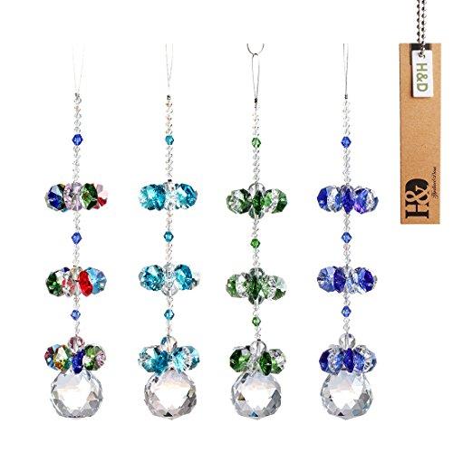 H&D Kristall Fengshui Suncatcher Anhänger Rainbow Maker Kronleuchter Ball Prism 4pcs/Set