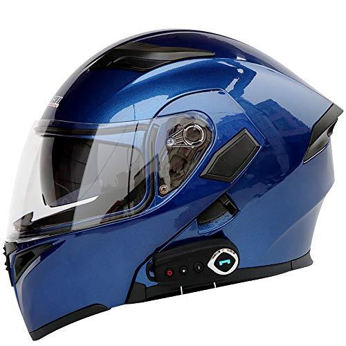 Mengen88 Casco Moto Moto Uomo Flip Up Open Face Full Face Bluetooth, Chip CSR Incorporato con Microfono Nascosto e Funzione FM Supporto Risposta alle chiamate,RoyalBlue,L