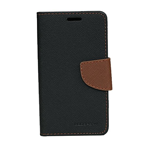 Batu Lee BlackBrownVY21 Designer Leather Flip Cover for Vivo Y21/Y21L