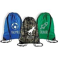 Personalised Name Drawstring Bag Kids PE Gym Kit P.E Sports Rucksack School Bag For Boys