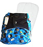 #9: Superbottoms Cloth Diaper - Baby Talk Cover Diaper with 2 Dry-Feel soakers (Mischief Managed)