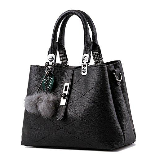 Donna PU Pelle Borsa A Tracolla Tote Bag Borse A Mano Blu Nero