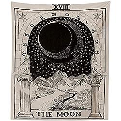 Haihuic Tapiz de Tarot El Sol La Luna La Estrella Adivinación de Europa Medieval Tapices misteriosos de tapices para la decoración del Dormitorio casero (150 cm x 130 cm, La Luna)
