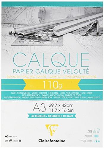Clairefontaine 975107C Block Transparentpapier (Din A3, 29,7 x 42 cm, 40 Blatt, 110 g, Ideal für Technische Zeichnen) Transparent