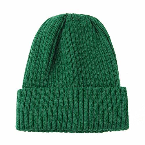 Green Knit Beanie Cap (WITHMOONS Strickmützen Seemannsmütze Knitted Ribbed Beanie Hat Basic Plain Solid Watch Cap AC5846 (Green))