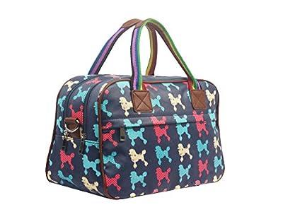 Womens Ladies Oilcloth Poodle Holdall Weekend Travel Shoulder Bag Handbag Womens