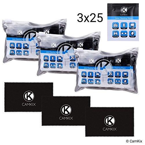 Objektiv- und Display-Reinigungsset - 3 Mikrofasertücher, 3x 25 einzeln verpackte feuchte Tücher - Für Brillen, Sonnenbrillen, Objektive, Telefon/Tablet-Bildschirme, etc. - Spezielle Formel