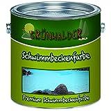 Grünwalder PREMIUM 2K Schwimmbeckenfarbe/Poolfarbe für GFK, Kunststoff und Polyester inkl. Härter 2 Komponenten in Blau Weiß Grün und ALLE RAL (2,5 kg, Blau)