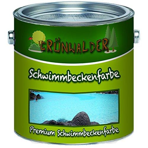 Grünwalder PREMIUM 2K Schwimmbeckenfarbe/Poolfarbe für GFK, Kunststoff und Polyester inkl. Härter 2 Komponenten in Blau Weiß Grün und ALLE RAL (5 kg, Blau)