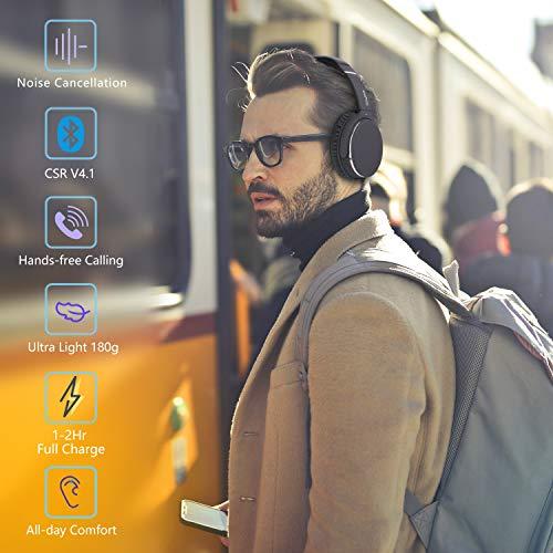 Kopfhörer Bluetooth Kabellos Noise Cancelling- Srhythm NC25- Over Ear Kopfhoerer mit Mikrofon Aktiver Geräuschunterdrückung 190g Ultraleicht Faltbar Hi-Fi Stereo mit Flugzeugstecker - 2