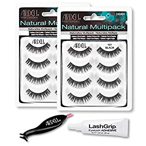 Ardell Fake Eyelashes Value Pack - Natural Multipack 101 (Black, 2-Pack), LashGrip Strip Adhesive, Dual Lash Applicator - Everything You Need For Perfect False Eyelashes by Ardell