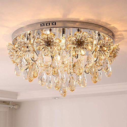 SELMAL Crystal Ceiling Light, Flush Mount Crystal Chandelier, Transparent Ball Perlen Kristallleuchter für Schlafzimmer Hotel Living Room Study Room,65 * 32cm - Crystal Ceiling Mount