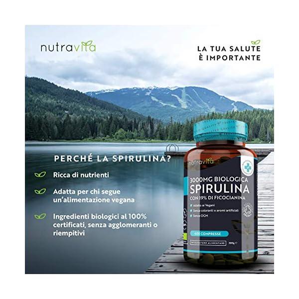 Spirulina Biologica 3000 mg con Ficocianina Grezza 19% - 600 Compresse Vegane - 500mg con Compresse - Prodotto biologico - Prodotto nel Regno Unito da Nutravita 3 spesavip
